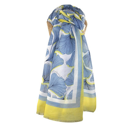 Ginko leaves scarf blue/yellow