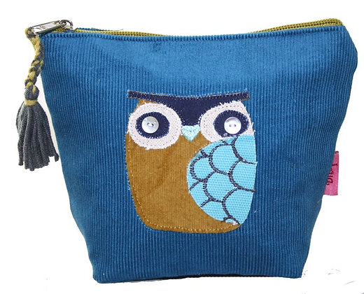 Owl cosmetic purse in blue