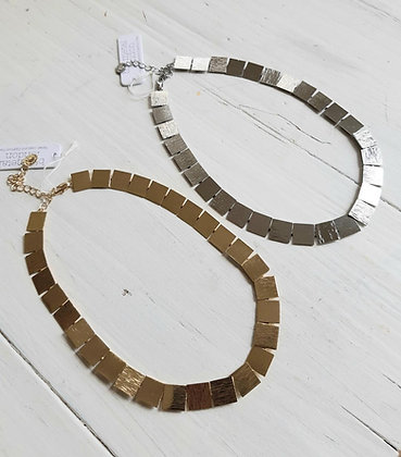 Textured squares necklace in silver or gold