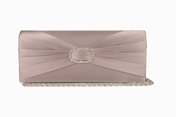 Diamonte satin clutch bag taupe