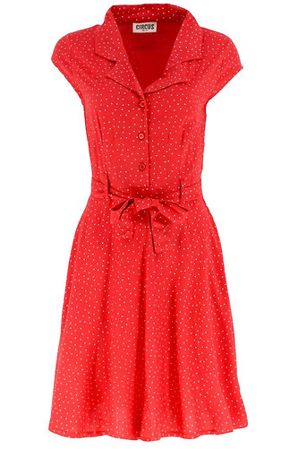 Polka dot shirt dress in red