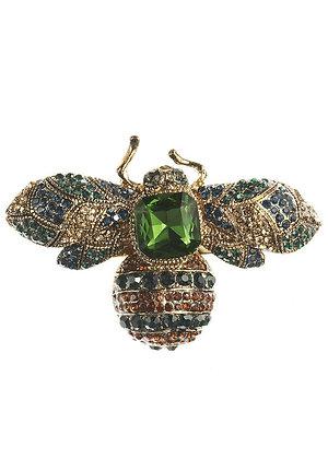 Green Gem Bug Crystal Hairclip & Brooch