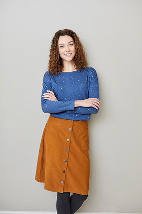 Pin cord skirt in ginger