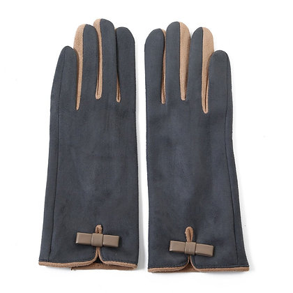 Faux suede gloves grey