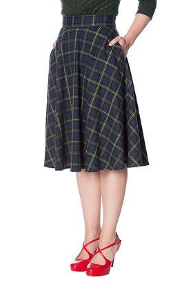 Check swing skirt in green
