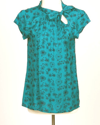 Bicycle blouse in teal