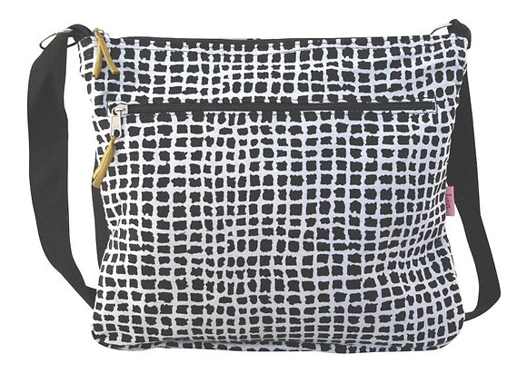 Grid messenger bag in black & white