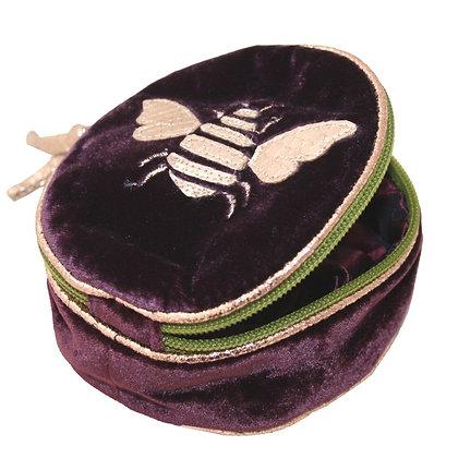Velvet bee jewellery purse in plum