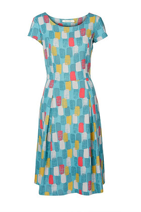 Geo print linen dress in turquoise