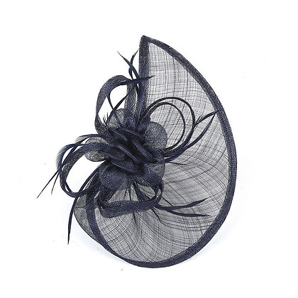 Sail fascinator in navy