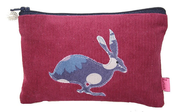 Hare coin purse in plum