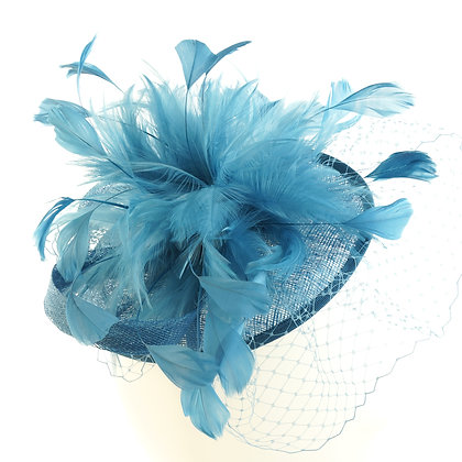 Turquoise capette fascinator on band