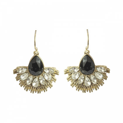 Crystal fan earrings in black