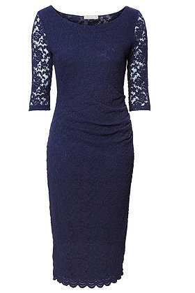 Elegant lace pencil dress in navy