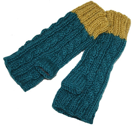 Knit handwarmers in teal/mustard