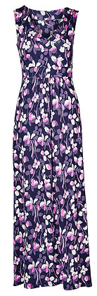 Floral print jersey maxi dress in navy