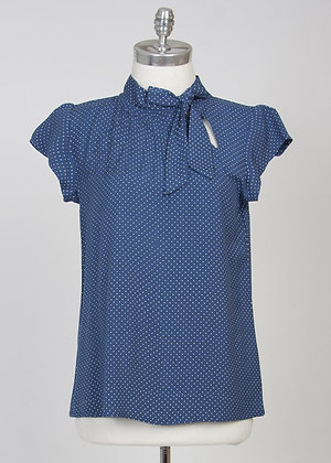 Pin dot blouse in blue