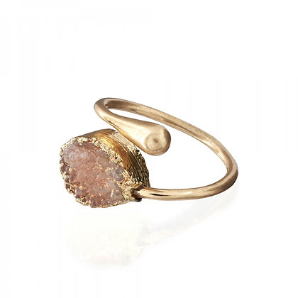 Druzy stone adjustable ring in pink