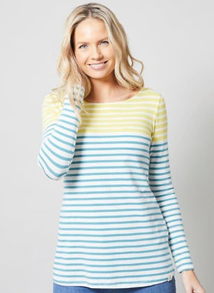 Two tone stripe top in lime/turquoise