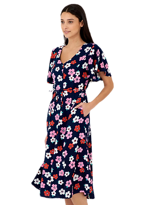 Daisy floral dress in dark navy