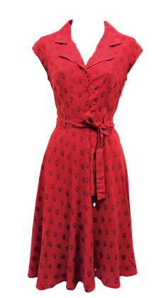 Balloon print shirt dress in red