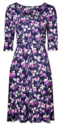 Floral jersey dress in navy and purple
