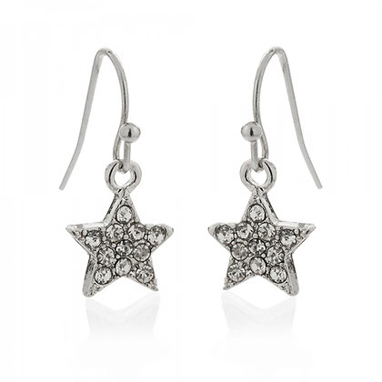 Star drop earrings silver