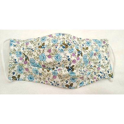 Pleated cotton face mask blue floral