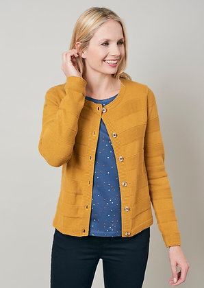 Band cotton knit cardigan in mustard