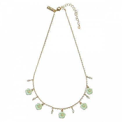 Petite fleur enamel drops necklace