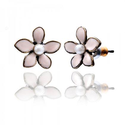 Dainty enamel earrings in pink
