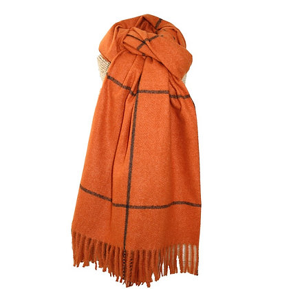 Check scarf in burnt orange