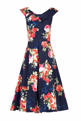Navy Rose swing dress