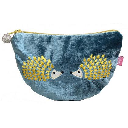 Velvet hedgehog purse in teal
