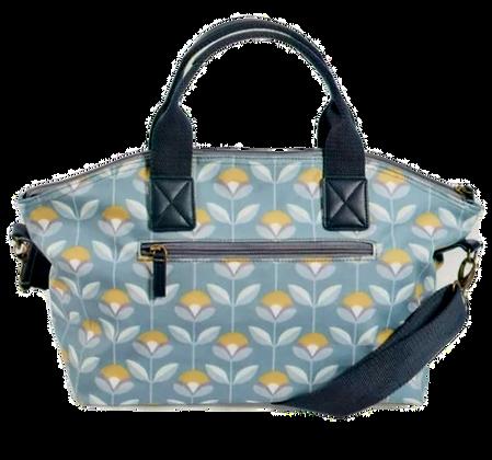 Oilcloth bag with hand drawn petal print