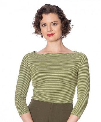 Monica stripe top in olive