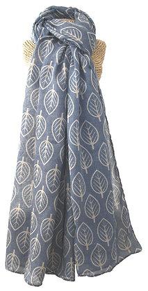 Leaf print scarf in blue