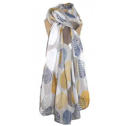 Leaves scarf grey/mustard