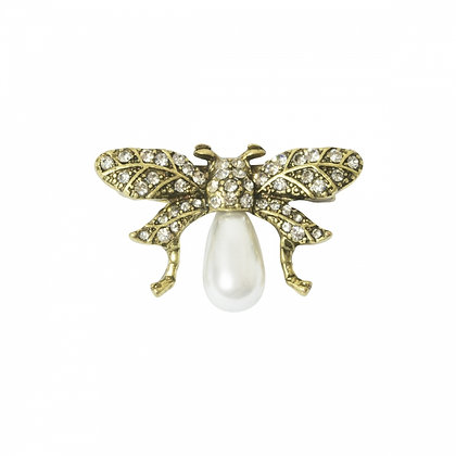 Golden Bee pearl brooch