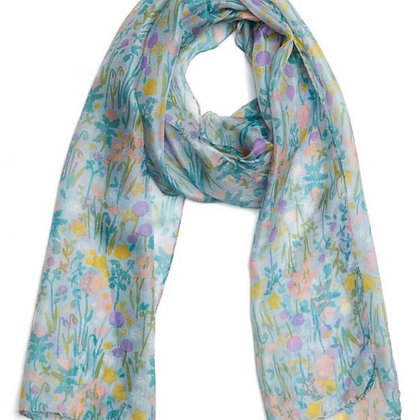 Prairie grey blue pure silk scarf