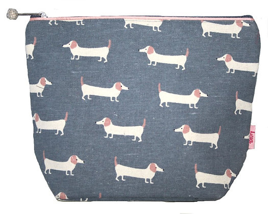 Sausage dog cosmetic purse in blue large