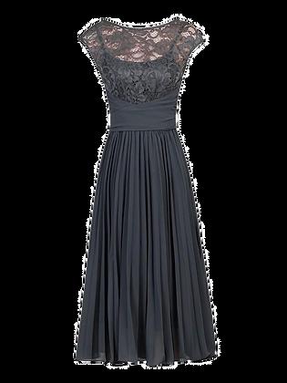 Pleats dress in charcoal
