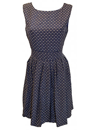 Scallop print dress in navy