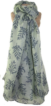 Fern print scarf in sage green and grey