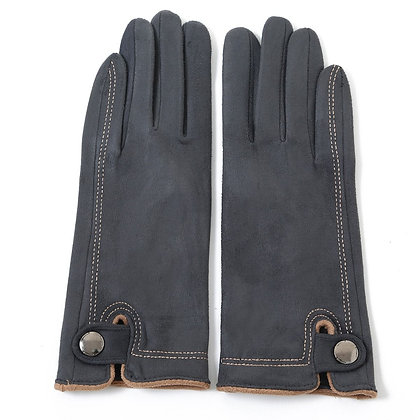 Faux suede stitch gloves grey