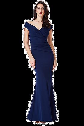 Mermaid pleated gown in navy