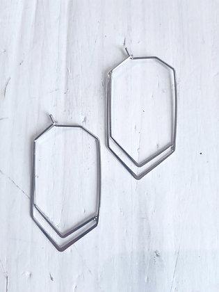 Geometric bar earrings in silver