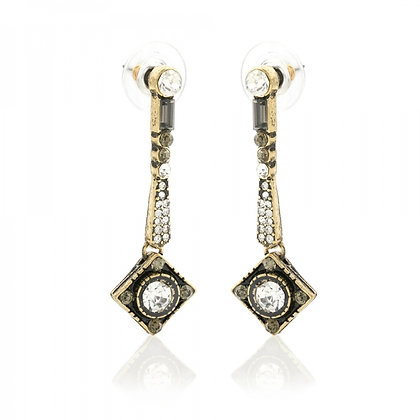Art Deco drop earrings in black and gold