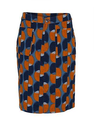 Pin cord  circle print skirt