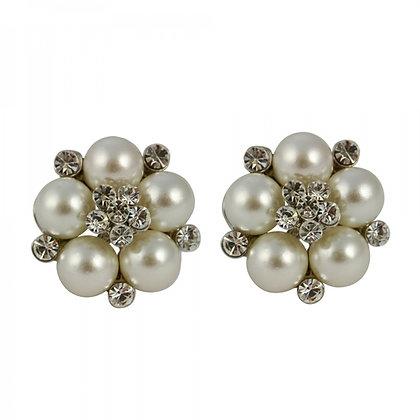 Pearl cluster clip on earrings